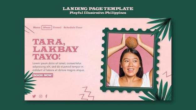 Speelse geïllustreerde landingspagina van filipijnen