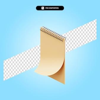 Spiraal notebook 3d render illustratie geïsoleerd