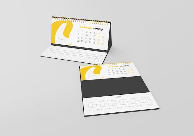 Spiraalvormige bureaukalender met notities mockup geïsoleerd