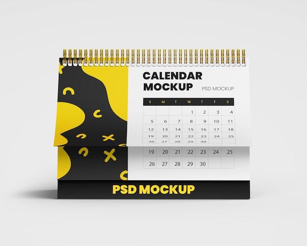 Spiraalvormige bureaukalender mockup