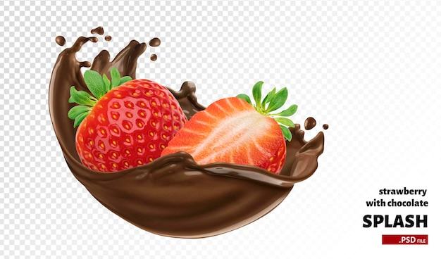 Splash de chocolate con fresa aislado