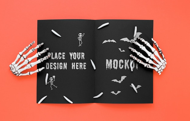 Spookachtig arrangement met skeletachtige handen