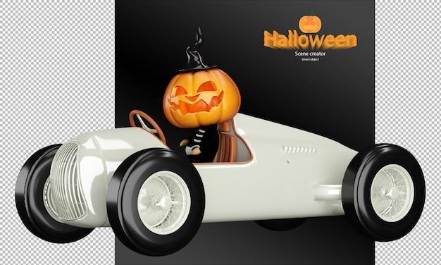 Spookachtig en schattig halloween-pompoenkarakter op vintage racewagen