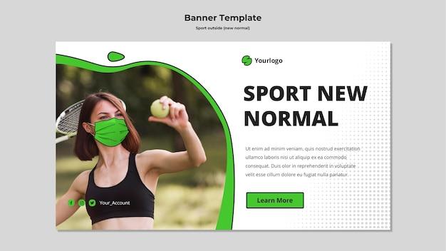 Sport buiten het sjabloon voor horizontale spandoek