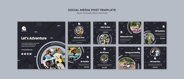 Sport concept social media post sjabloon
