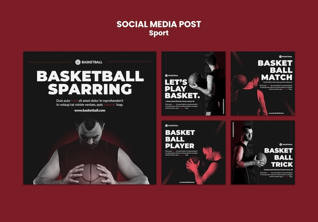 Sport concept sociale media post sjabloon