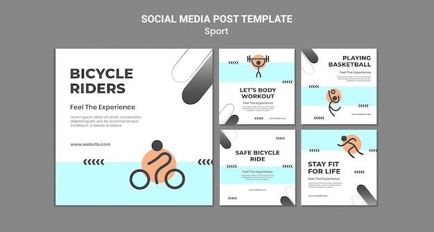 Sport concept sociale media post-sjabloon