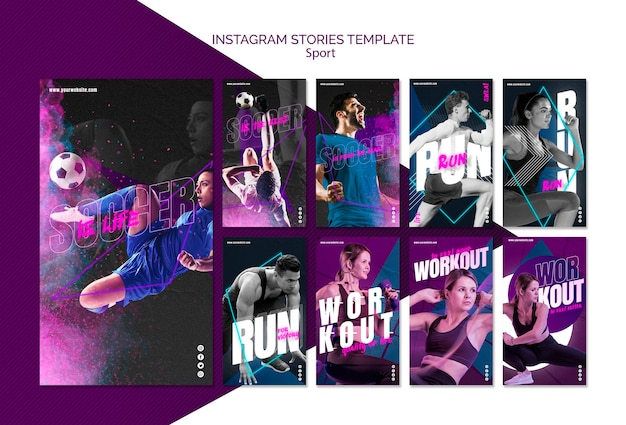 Sport concept sociale media post