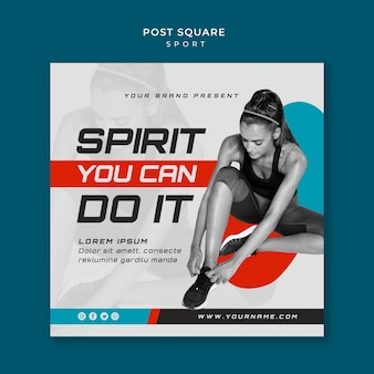 Sport concept vierkante post stijl