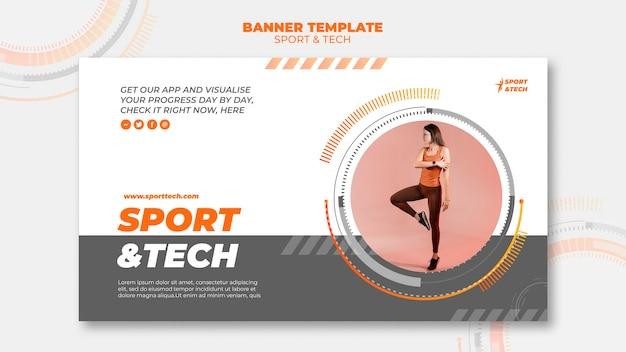 Sport en tech banner sjabloonontwerp
