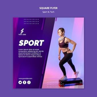 Sport en tech vierkante flyer-sjabloon met foto