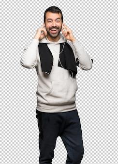 Sport man met een koptelefoon