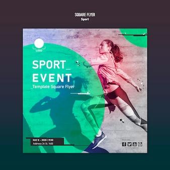 Sport sjabloon vierkante flyer concept