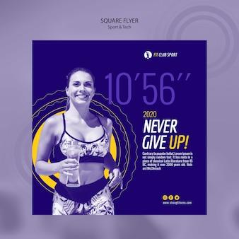Sport tech flyer cuadrado con mujer