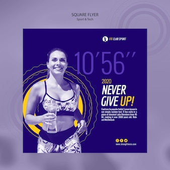 Sport tech vierkante flyer met vrouw
