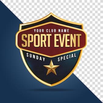 Sportevenement shield mockup 3d-rendering