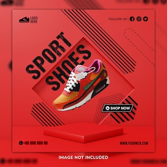 Sportschoenen sosial media post & webbannersjabloon met 3d-achtergrond