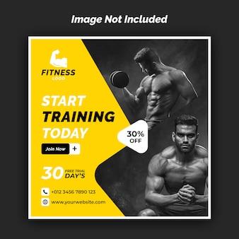 Sportschool en fitness instagram sjabloon voor spandoek