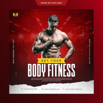 Sportschool en fitness promotionele social media post en webbanner of vierkante flyer-sjabloon premium psd