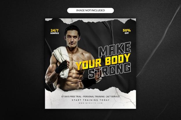 Sportschool en fitness social media post banner of vierkante flyer-sjabloon