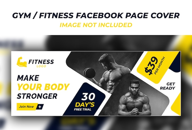 Sportschool fitness facebook voorbladsjabloon