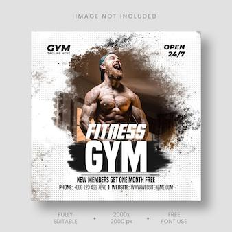 Sportschool fitness social media postsjabloon