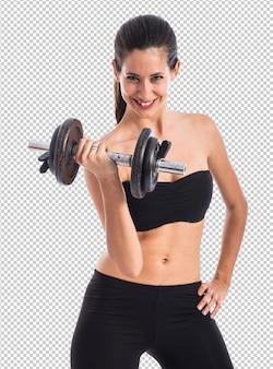 Sportvrouw die gewichtheffen doen
