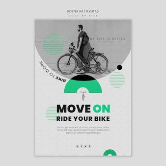 Spostarsi in bici concetto di volantino