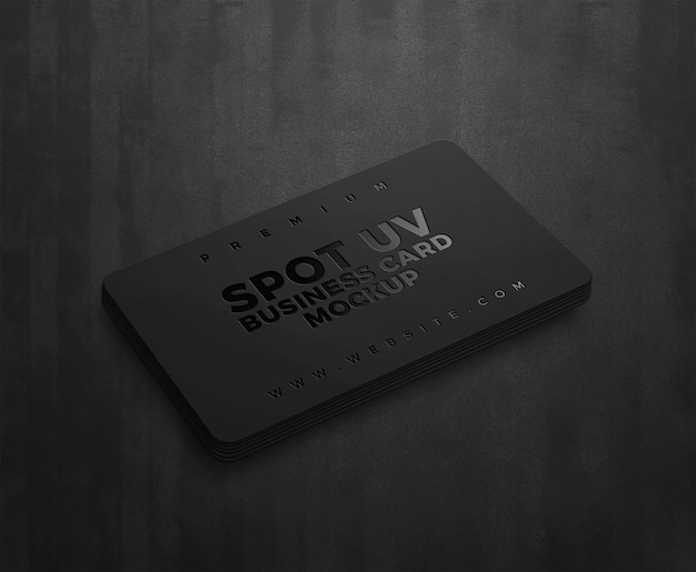 Spot uv-logo mockup op donker visitekaartje
