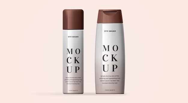 Spray cosmético o maqueta de champú con fondo claro