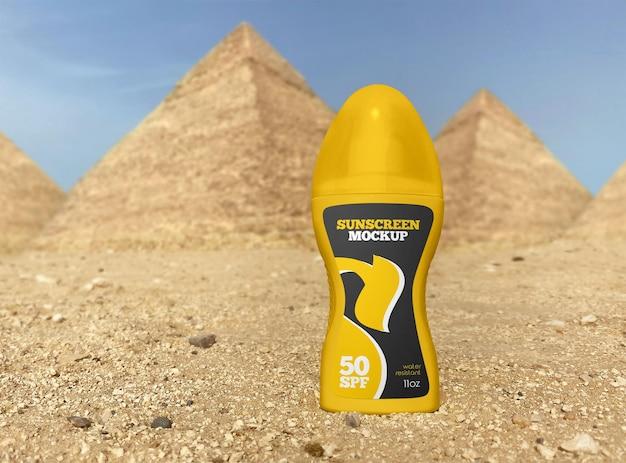 Spray fles zonnebrandcrème mockup