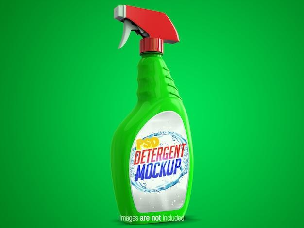 Spray de limpieza colorido vista en perspectiva izquierda