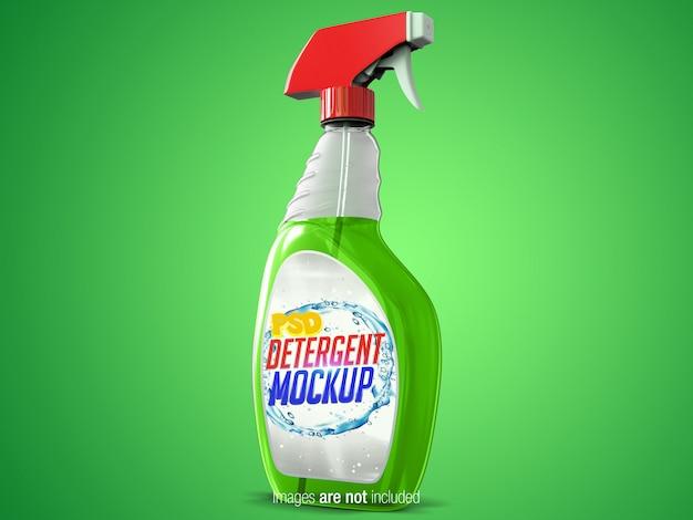 Spray de limpieza transparente vista en perspectiva