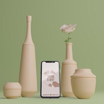 Spring 3d decoraciones con dispositivo móvil