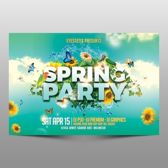 Spring party horizontale flyer