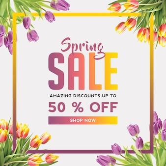 Spring sale squar banner