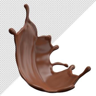 Spruzzata 3d del latte al cioccolato realistica