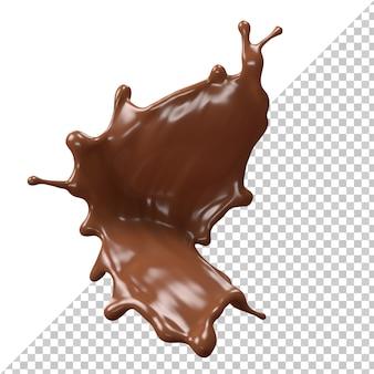 Spruzzata di cioccolato al latte 3d realistico