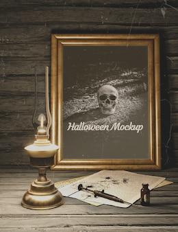 Spuit met gif halloween zwart horror mock-up
