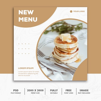 Square banner food restaurant gold luxury menu
