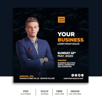 Square banner social media post template business
