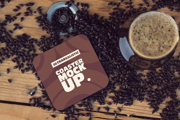Square coaster & cup black malt mockup