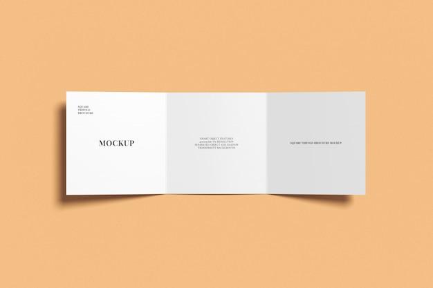 Square trifold brochure mockup bovenaanzicht