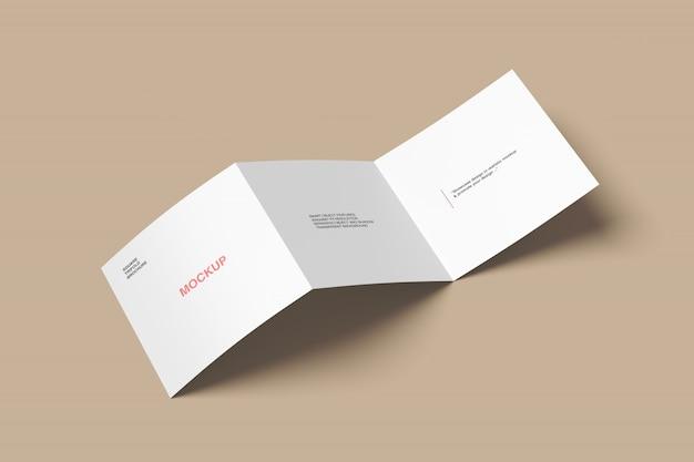 Square trifold brochure mockup high angle shot