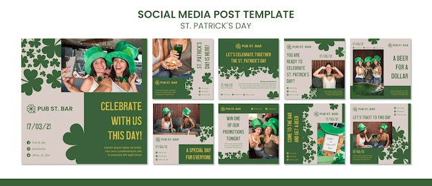 St. patrick's day social media postsjabloon