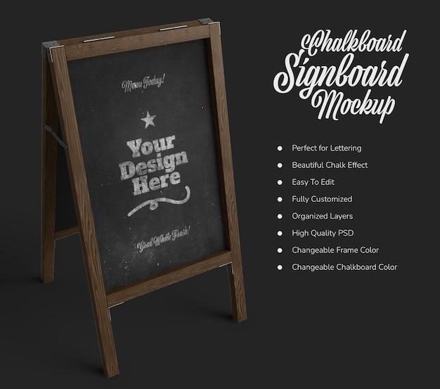 Staand coffeeshop uithangbord met zwart schoolbordmodel Premium Psd