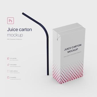 Staande juice paper carton verpakking met straw mockup