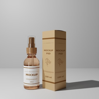 Staande mist spray bottle mockup met box label mocup