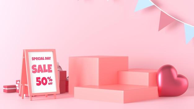 Staande poster mockup en podium showcase in valentijnsdag met decoraties