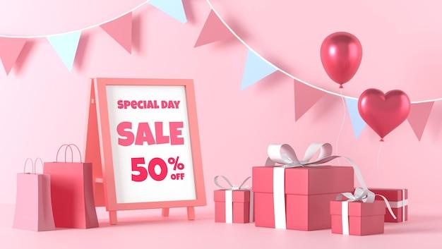 Staande poster mockup in valentijnsdag met decoraties Premium Psd
